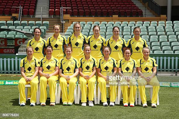 Australian players of the Southern Stars pose for a team photograph before the women's Twenty20 International match between Australia and India at...