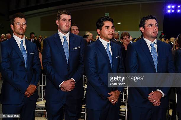Australian players on the International Team from left Adam Scott Marc Leishman Jason Day and Steven Bowditch attend The Presidents Cup Opening...