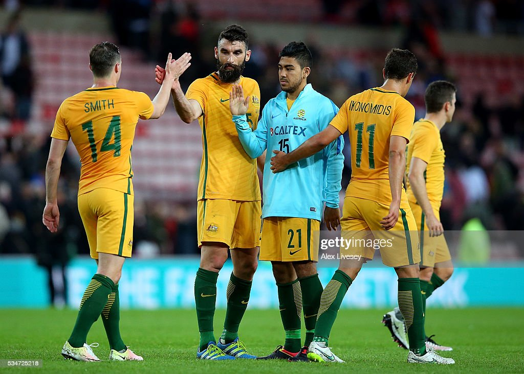 Australian players shake hands following the International Friendly match between England and Australia at Stadium of Light on May 27, 2016 in Sunderland, England.