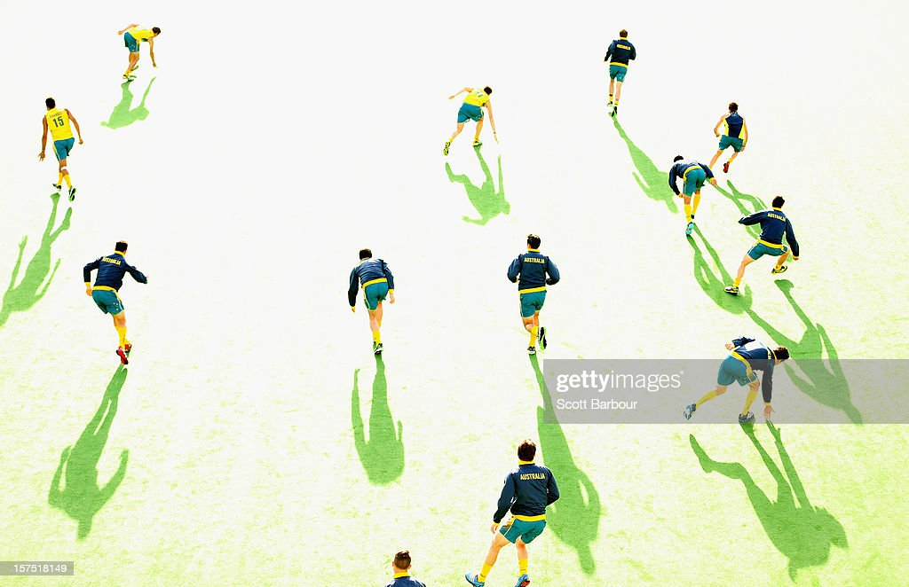 Australian players warm up before the match between the Australia and Pakistan during day three of the Champions Trophy at State Netball Hockey Centre on December 4, 2012 in Melbourne, Australia.