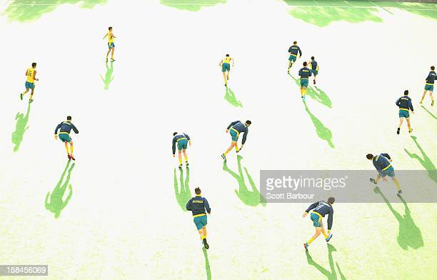 Australian players warm up before the match between the Australia and Pakistan during day three of the Champions Trophy at State Netball Hockey...