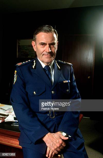 Australian police commissioner John Avery poses in his office 1985 in Sydney Australia