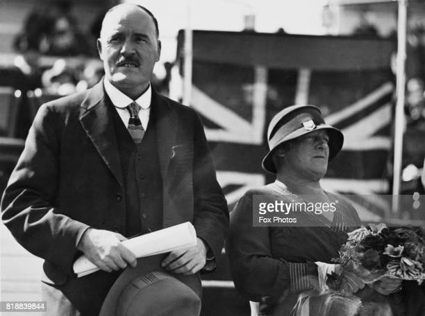 Australian politician John Thomas Lang or Jack Lang Premier of New South Wales with his wife at the official opening ceremony of the Sydney Harbour...