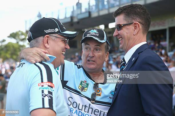 Australian politician Scott Morrison MP Radio presenter television personality and former Sharks ground announcer Glenn Wheeler and Sharks chairman...
