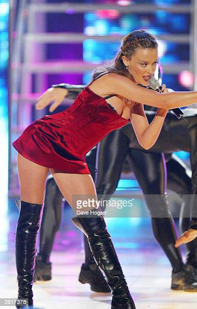 Australian pop star Kylie Minogue performs on stage at the 14th World Music Awards on March 6 2002 in Monte Carlo Monaco