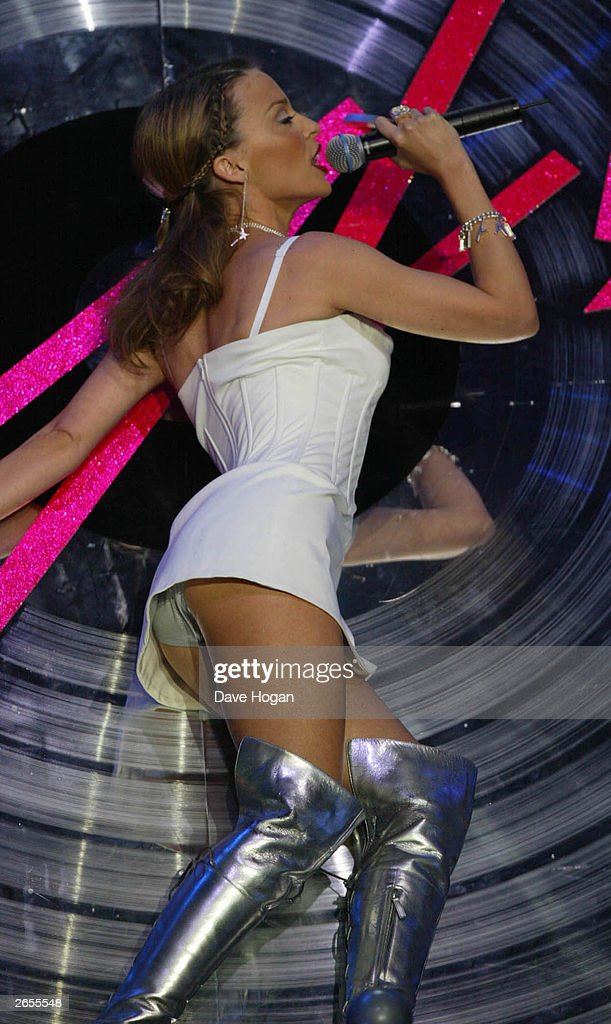 Australian pop star <a gi-track='captionPersonalityLinkClicked' href=/galleries/search?phrase=Kylie+Minogue&family=editorial&specificpeople=201671 ng-click='$event.stopPropagation()'>Kylie Minogue</a> performs on stage at the Brit Awards held at Earls Court on February 20, 2002 in London.
