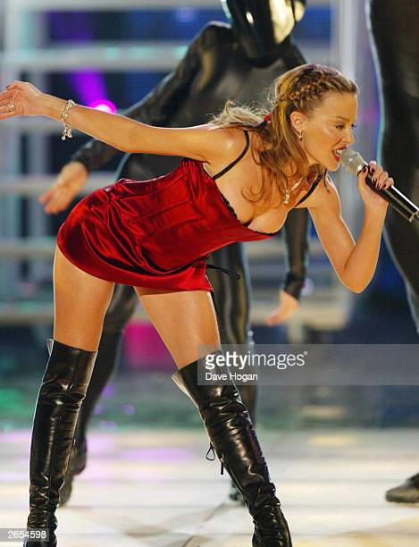 Australian pop star Kylie Minogue performs on stage at the Monte Carlo World Music Awards on March 6 2002 in Monte Carlo Monaco