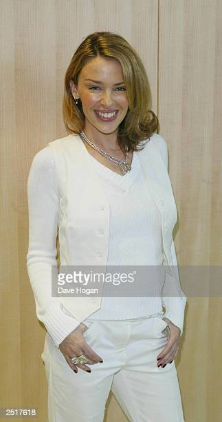 Australian pop star Kylie Minogue prepares for her stage performance at the 14th World Music Awards on March 6 2002 in Monte Carlo Monaco