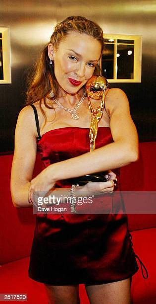 Australian pop star Kylie Minogue wins the award for 'Best Selling Australian Artist' at the 14th World Music Awards on March 6 2002 in Monte Carlo...