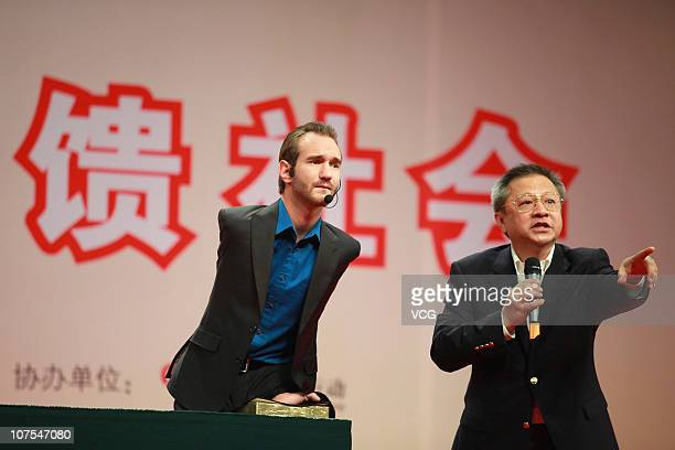 Australian preacher and motivational speaker Nick Vujicic speaks during his public lecture at Citizen Center Hall on December 12 2010 in Shenzhen...