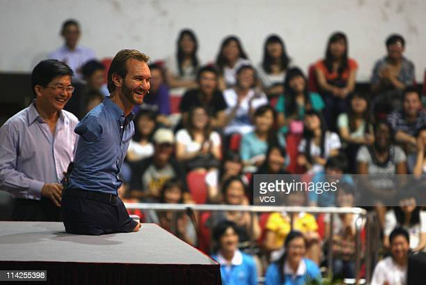 Australian preacher and motivational speaker Nick Vujicic speaks to an audience during his public lecture at Zhongnan University of Economics and Law...