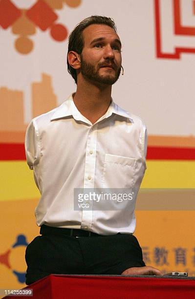 XI'AN CHINA MAY 15 Australian preacher and motivational speaker Nick Vujicic speaks to an audience during his public lecture at Northwestern...