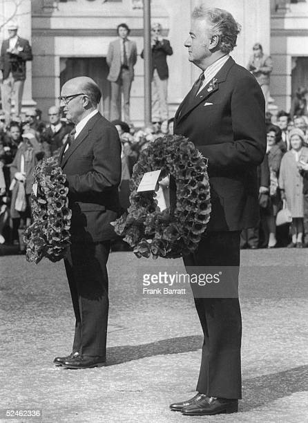 Australian Prime Minister Gough Whitlam and New Zealand HighCommissioner Terence Henderson McCombs at an Anzac Day wreathlaying ceremont at the...
