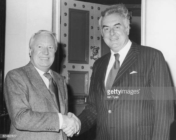 Australian Prime Minister Gough Whitlam with Conservative Party leader and former British Prime Minister Edward Heath at Heath's London home 20th...