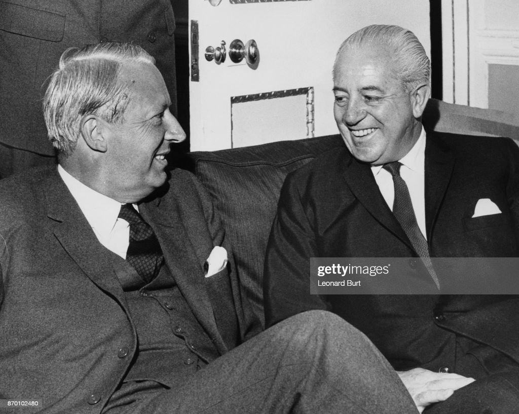 Australian Prime Minister Harold Holt (1908 - 1967) lunches with Leader of the Conservative Party Edward Heath (left) at Heath's flat in The Albany, London, 5th September 1966. Holt is in London for the Commonwealth Prime Ministers' Conference.