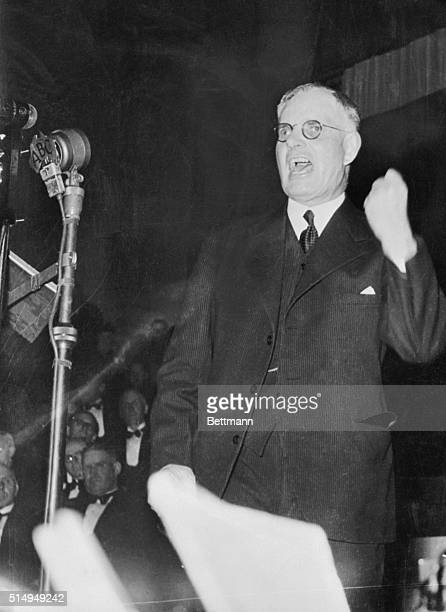 Australian Prime Minister John Curtin who led the country for most of the Second World War and was Labor Party leader from 19341945 clenches his fist...