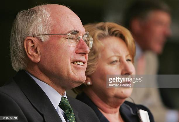Australian Prime Minister John Howard and wife Janette look on during day two of the fourth Ashes Test Match between Australia and England at the...