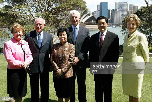 Australian Prime Minister John Howard his wife Janette Liu Yongqing wife of Chinese President Australia's GovernorGeneral Michael Jeffery Chinese...