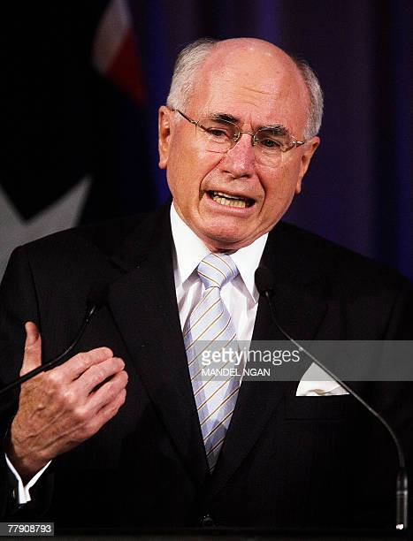 Australian Prime Minister John Howard speaks during a joint press conference with US President George W Bush 05 September 2007 at the...