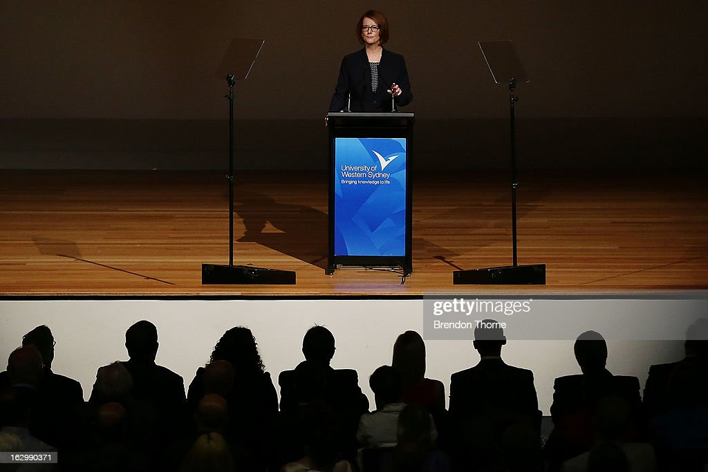 Australian Prime Minister, <a gi-track='captionPersonalityLinkClicked' href=/galleries/search?phrase=Julia+Gillard&family=editorial&specificpeople=787281 ng-click='$event.stopPropagation()'>Julia Gillard</a> addresses party members at the University of Western Sydney on March 3, 2013 in Sydney, Australia. The Prime Minister today announced that the government will roll out a AUD$64m anti-gang taskforce, based on similar outfits in the US run by the FBI.