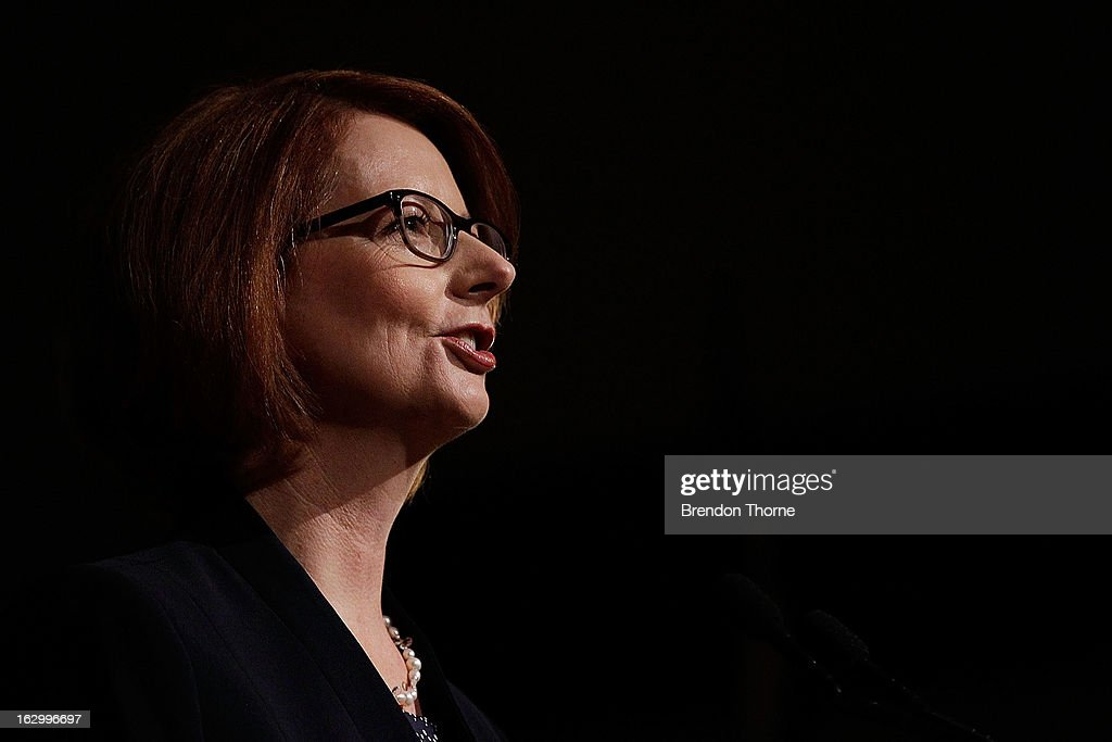 Australian Prime Minister, Julia Gillard addresses party members at the University of Western Sydney on March 3, 2013 in Sydney, Australia. The Prime Minister today announced that the government will roll out a AUD$64m anti-gang taskforce, based on similar outfits in the US run by the FBI.