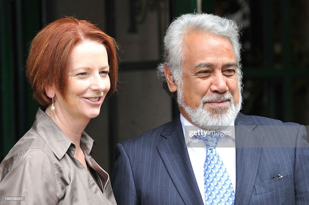 Australian Prime Minister <a gi-track='captionPersonalityLinkClicked' href=/galleries/search?phrase=Julia+Gillard&family=editorial&specificpeople=787281 ng-click='$event.stopPropagation()'>Julia Gillard</a> and East Timorese Prime Minister <a gi-track='captionPersonalityLinkClicked' href=/galleries/search?phrase=Xanana+Gusmao&family=editorial&specificpeople=223915 ng-click='$event.stopPropagation()'>Xanana Gusmao</a> pose for photographers at the Lodge, on February 18, 2012 in Canberra, Australia. Mr Gusmao will visit Canberra, Sydney, Darwin, and Melbourne during his six day visit to Australia.