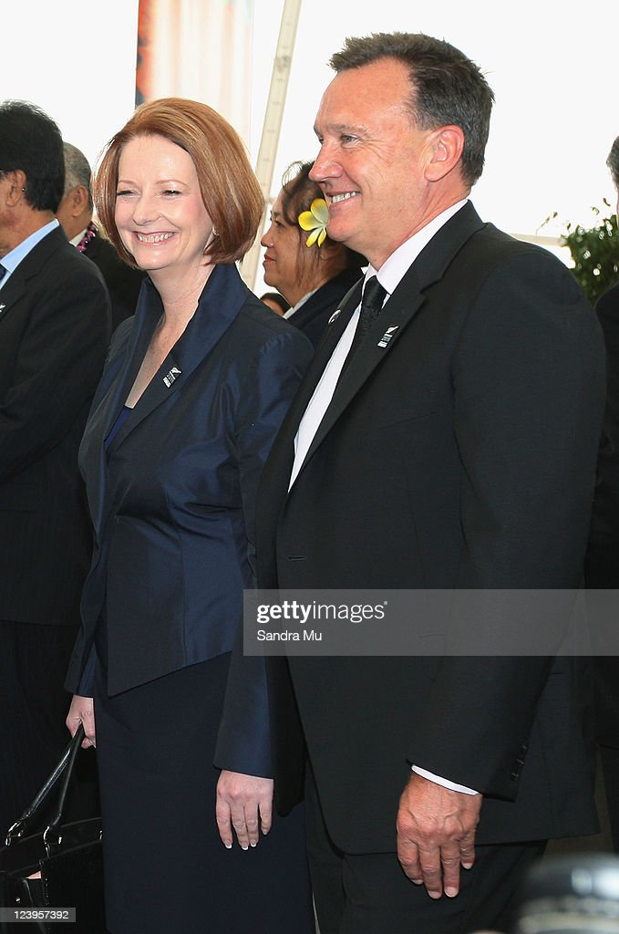 Australian Prime Minister <a gi-track='captionPersonalityLinkClicked' href=/galleries/search?phrase=Julia+Gillard&family=editorial&specificpeople=787281 ng-click='$event.stopPropagation()'>Julia Gillard</a> and her partner Tim Mathieson (R) watch a cultural activity before the Official Opening of the 42nd Pacific Forum at The Cloud on September 7, 2011 in Auckland, New Zealand. The annual gathering of leaders of the pacific nations has attracted heavyweight list of guests this year including United Nations Secretary General Ban Ki-moon, European Commission President Jose Manuel Barroso, the French Foreign Minister and the US Deputy Secretary of State. The forum conclusion coincides with the Opening Ceremony of the Rugby World Cup.