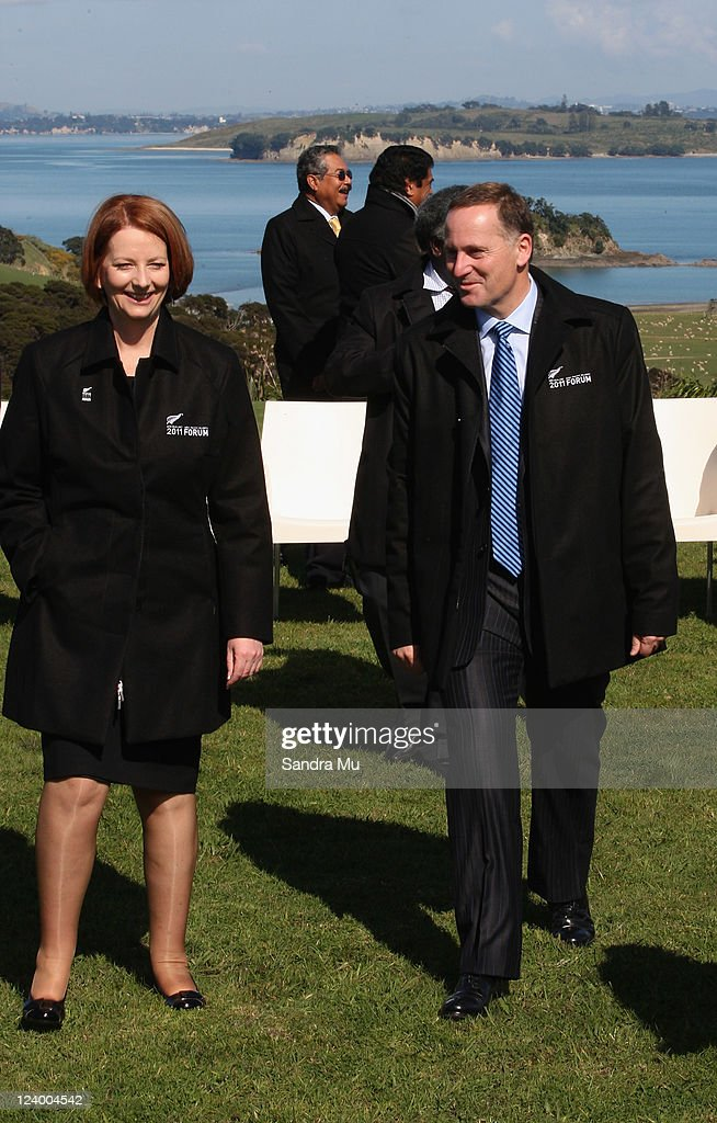 Australian Prime Minister <a gi-track='captionPersonalityLinkClicked' href=/galleries/search?phrase=Julia+Gillard&family=editorial&specificpeople=787281 ng-click='$event.stopPropagation()'>Julia Gillard</a> (L) and New Zealand Prime Minister <a gi-track='captionPersonalityLinkClicked' href=/galleries/search?phrase=John+Key&family=editorial&specificpeople=2246670 ng-click='$event.stopPropagation()'>John Key</a> chat after the official photo at Cable Bay on September 8, 2011 in Auckland, New Zealand. The annual gathering of leaders of the pacific nations has attracted heavyweight list of guests this year including United Nations Secretary General Ban Ki-moon, European Commission President Jose Manuel Barroso, the French Foreign Minister and the US Deputy Secretary of State. The forum conclusion coincides with the Opening Ceremony of the Rugby World Cup.