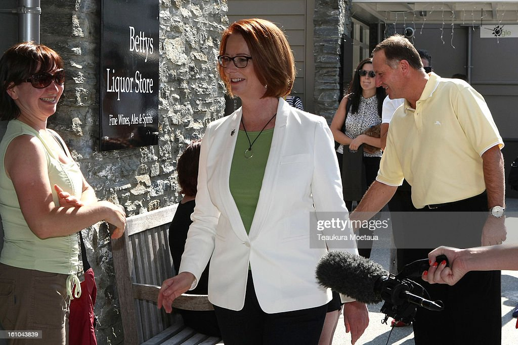 Australian Prime Minister <a gi-track='captionPersonalityLinkClicked' href=/galleries/search?phrase=Julia+Gillard&family=editorial&specificpeople=787281 ng-click='$event.stopPropagation()'>Julia Gillard</a> and New Zealand Prime Minister <a gi-track='captionPersonalityLinkClicked' href=/galleries/search?phrase=John+Key&family=editorial&specificpeople=2246670 ng-click='$event.stopPropagation()'>John Key</a> meet people on February 9, 2013 in Arrowtown, New Zealand. The annual talks are held over two days, with the economy and Asia-pacific defence matters as key items on the agenda.