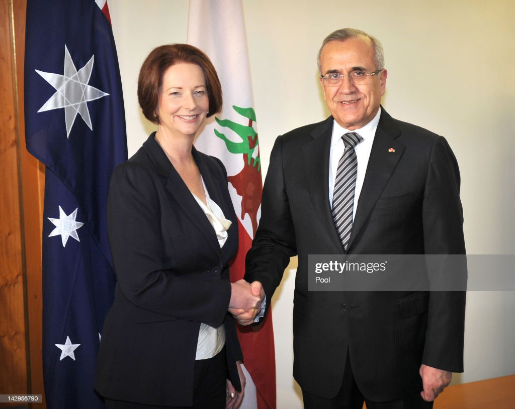Australian Prime Minister <a gi-track='captionPersonalityLinkClicked' href=/galleries/search?phrase=Julia+Gillard&family=editorial&specificpeople=787281 ng-click='$event.stopPropagation()'>Julia Gillard</a> and President of Lebanon, Michel Sleiman pose for the media at Parliament House on April 16, 2012 in Canberra, Australia. Suleiman is on a five-day state visit to Australia.