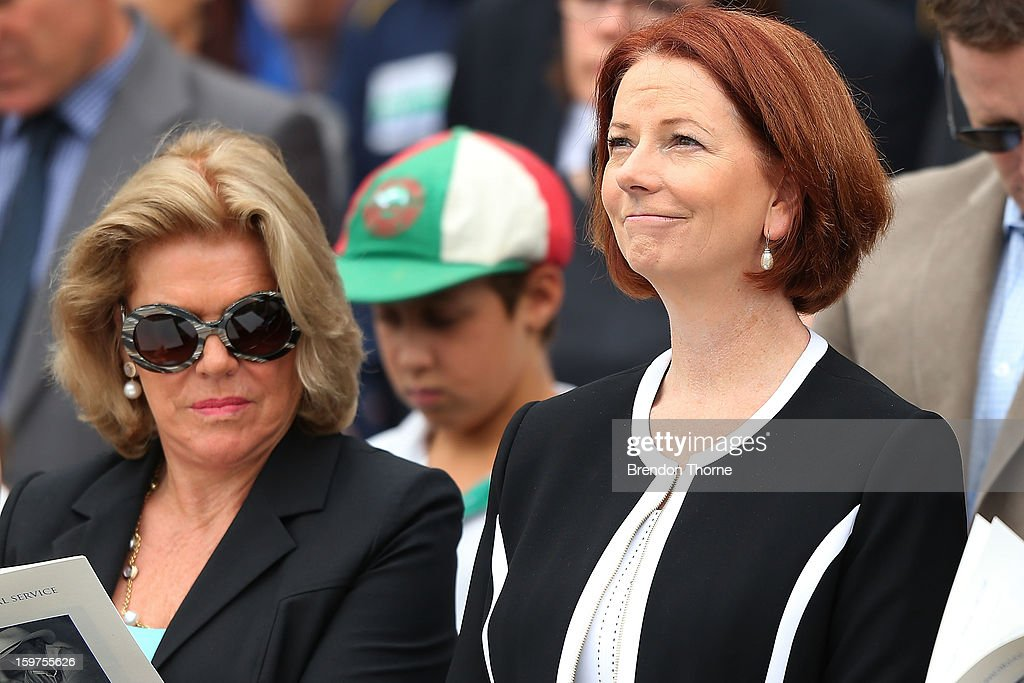 Australian Prime Minister, Julia Gillard and Roslyn Packer attend the Tony Greig memorial service at Sydney Cricket Ground on January 20, 2013 in Sydney, Australia.