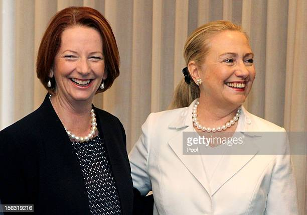 Australian Prime Minister Julia Gillard and US Secretary of State Hillary Clinton meet during the annual AustraliaUnited States Ministerial...