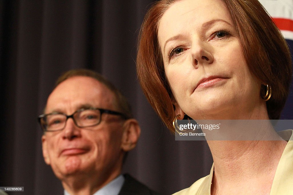 Australian Prime Minister <a gi-track='captionPersonalityLinkClicked' href=/galleries/search?phrase=Julia+Gillard&family=editorial&specificpeople=787281 ng-click='$event.stopPropagation()'>Julia Gillard</a> announces the make up of her reshufffled cabinet during a press conference at Parliament House on March 2, 2012 in Canberra, Australia. In her third ministerial reshuffle in 18 months, <a gi-track='captionPersonalityLinkClicked' href=/galleries/search?phrase=Bob+Carr&family=editorial&specificpeople=209391 ng-click='$event.stopPropagation()'>Bob Carr</a> replaces Kevin Rudd as Minister for Foreign Affairs after his recent failed leadership bid, which led to minister resignations and the need for the reshuffle.