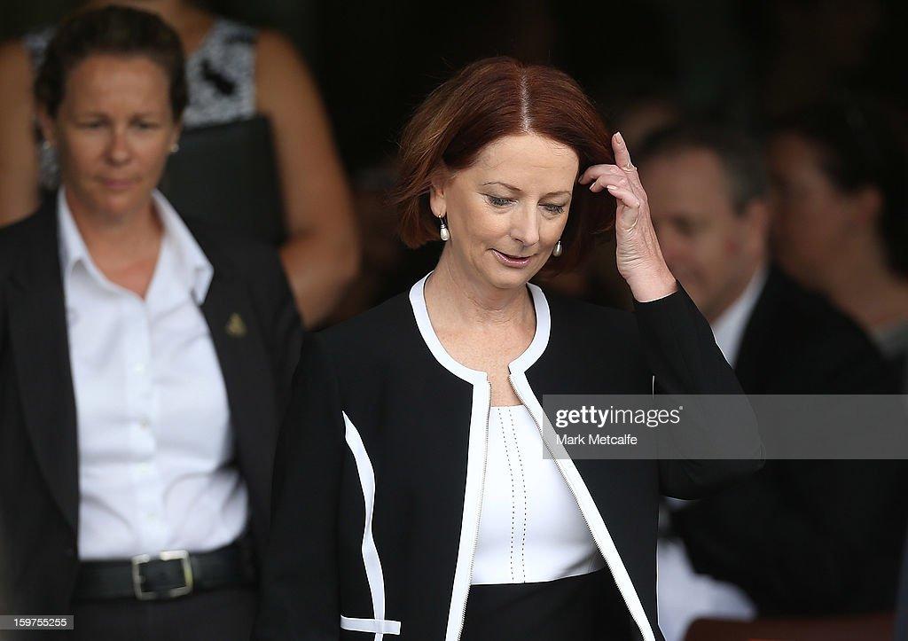 Australian Prime Minister, Julia Gillard arrives for the Tony Greig memorial service at Sydney Cricket Ground on January 20, 2013 in Sydney, Australia.