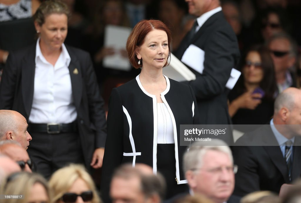 Australian Prime Minister, <a gi-track='captionPersonalityLinkClicked' href=/galleries/search?phrase=Julia+Gillard&family=editorial&specificpeople=787281 ng-click='$event.stopPropagation()'>Julia Gillard</a> arrives for the Tony Greig memorial service at Sydney Cricket Ground on January 20, 2013 in Sydney, Australia.
