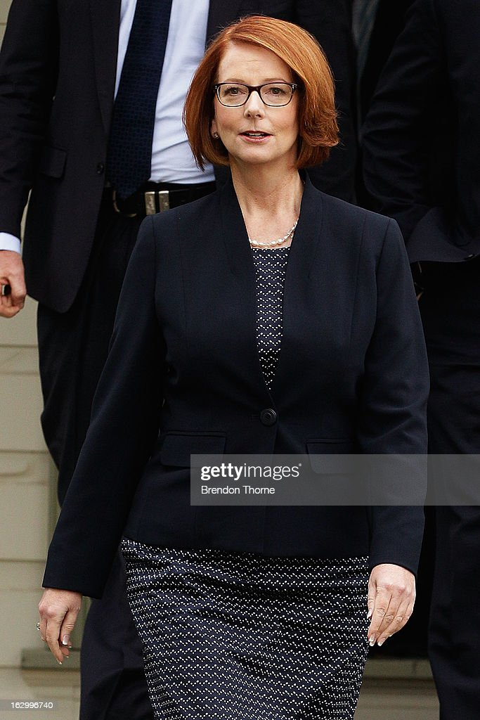 Australian Prime Minister, Julia Gillard arrives to address party members at the University of Western Sydney on March 3, 2013 in Sydney, Australia. The Prime Minister today announced that the government will roll out a AUD$64m anti-gang taskforce, based on similar outfits in the US run by the FBI.