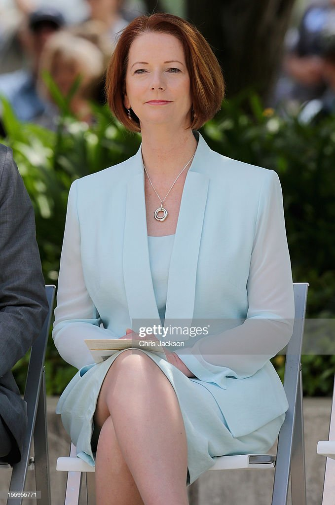 Australian Prime Minister <a gi-track='captionPersonalityLinkClicked' href=/galleries/search?phrase=Julia+Gillard&family=editorial&specificpeople=787281 ng-click='$event.stopPropagation()'>Julia Gillard</a> attends the naming of Queen Elizabeth Terrace at Parkes Place on November 10, 2012 in Canberra, Australia. The Royal couple are on the last day of the Australian leg of a Diamond Jubilee that takes in Papua New Guinea, Australia and New Zealand.
