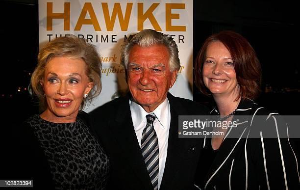 Australian Prime Minister Julia Gillard Former Australian Prime Minister Bob Hawke and Blanche d'Alpuget author and wife of former Australian Prime...