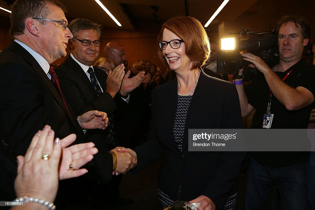 Australian Prime Minister, Julia Gillard greets party members at the University of Western Sydney on March 3, 2013 in Sydney, Australia. The Prime Minister today announced that the government will roll out a AUD$64m anti-gang taskforce, based on similar outfits in the US run by the FBI.