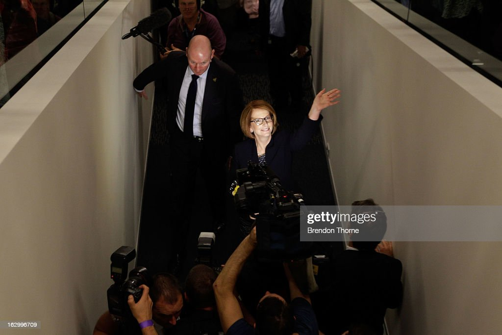 Australian Prime Minister, <a gi-track='captionPersonalityLinkClicked' href=/galleries/search?phrase=Julia+Gillard&family=editorial&specificpeople=787281 ng-click='$event.stopPropagation()'>Julia Gillard</a> greets party members at the University of Western Sydney on March 3, 2013 in Sydney, Australia. The Prime Minister today announced that the government will roll out a AUD$64m anti-gang taskforce, based on similar outfits in the US run by the FBI.