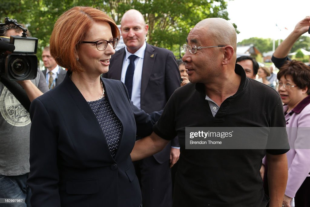 Australian Prime Minister, Julia Gillard greets party members upon arrival at the University of Western Sydney on March 3, 2013 in Sydney, Australia. The Prime Minister today announced that the government will roll out a AUD$64m anti-gang taskforce, based on similar outfits in the US run by the FBI.