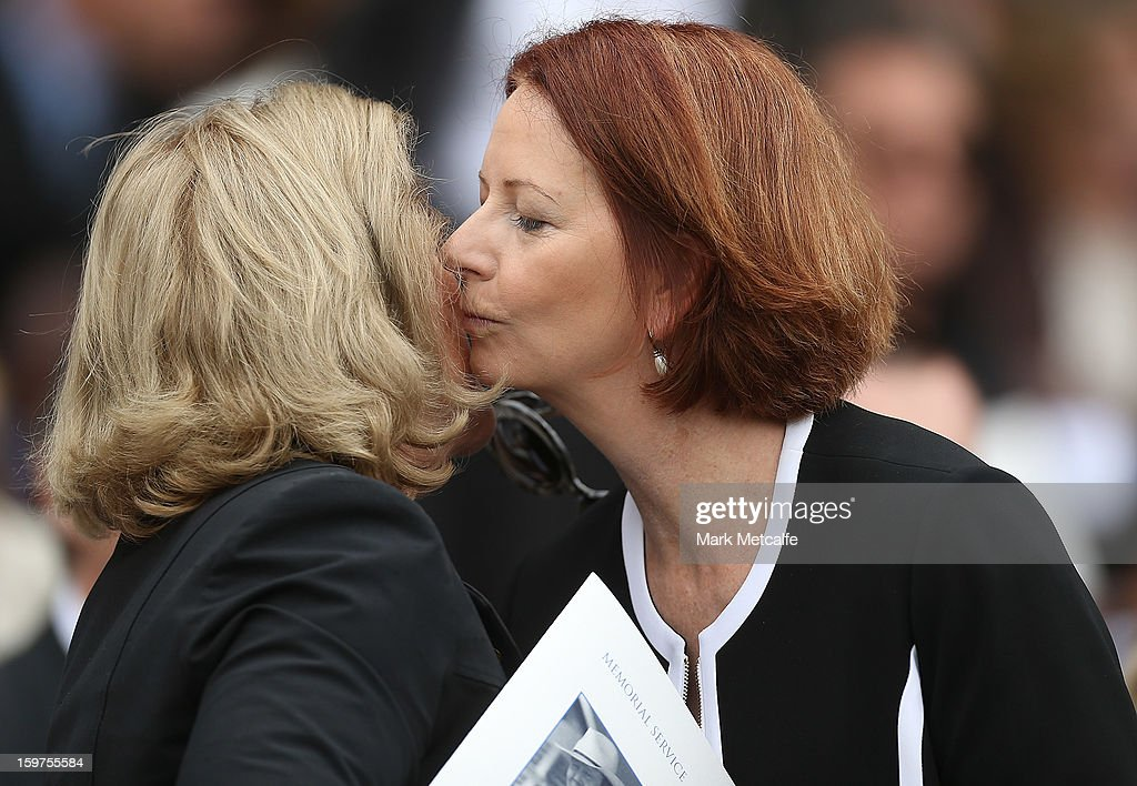 Australian Prime Minister, <a gi-track='captionPersonalityLinkClicked' href=/galleries/search?phrase=Julia+Gillard&family=editorial&specificpeople=787281 ng-click='$event.stopPropagation()'>Julia Gillard</a> is greeted by Roslyn Packer when arriving for the Tony Greig memorial service at Sydney Cricket Ground on January 20, 2013 in Sydney, Australia.
