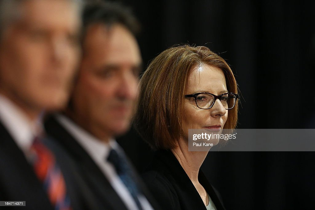 Australian Prime Minister Julia Gillard looks on at Thornlie Senior High School on March 27, 2013 in Perth, Australia. Gillard held a community cabinet meeting with members of her new front bench in the suburb of Thornlie today, in her first visit to WA since the Labor party lost state elections.