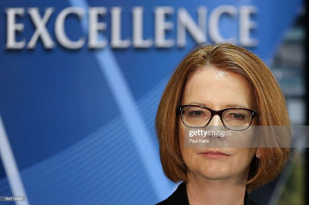 Australian Prime Minister <a gi-track='captionPersonalityLinkClicked' href=/galleries/search?phrase=Julia+Gillard&family=editorial&specificpeople=787281 ng-click='$event.stopPropagation()'>Julia Gillard</a> looks on at Thornlie Senior High School on March 27, 2013 in Perth, Australia. Gillard held a community cabinet meeting with members of her new front bench in the suburb of Thornlie today, in her first visit to WA since the Labor party lost state elections.