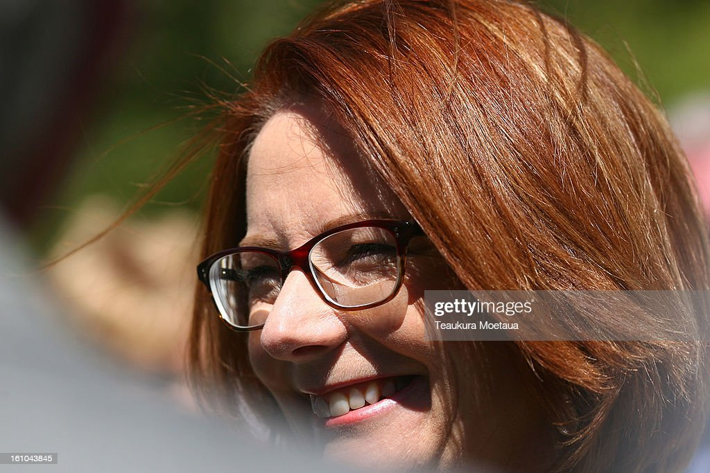 Australian Prime Minister <a gi-track='captionPersonalityLinkClicked' href=/galleries/search?phrase=Julia+Gillard&family=editorial&specificpeople=787281 ng-click='$event.stopPropagation()'>Julia Gillard</a> looks on before laying of the Wreaths at Queenstown War Memorial on February 9, 2013 in Queenstown, New Zealand. The annual talks are held over two days, with the economy and Asia-pacific defence matters as key items on the agenda.