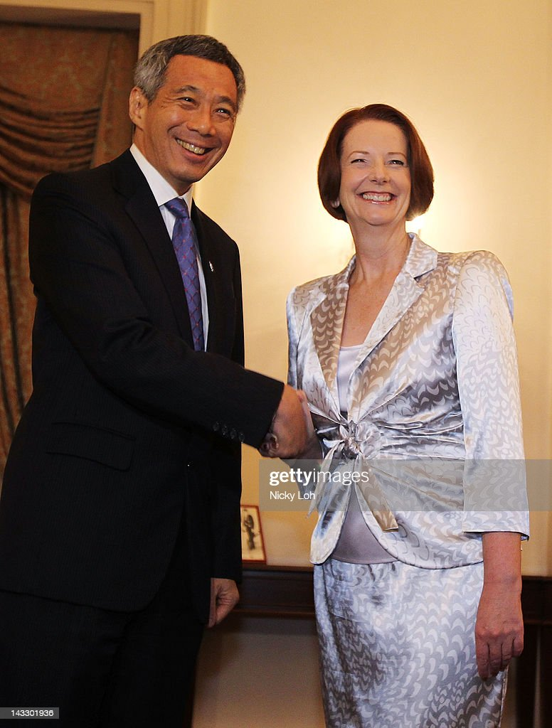 Australian Prime Minister <a gi-track='captionPersonalityLinkClicked' href=/galleries/search?phrase=Julia+Gillard&family=editorial&specificpeople=787281 ng-click='$event.stopPropagation()'>Julia Gillard</a> meets with Singapore Prime Minister <a gi-track='captionPersonalityLinkClicked' href=/galleries/search?phrase=Lee+Hsien+Loong&family=editorial&specificpeople=3911578 ng-click='$event.stopPropagation()'>Lee Hsien Loong</a> at the Istana on April 23, 2012 in Singapore. Gillard is visiting Singapore for the first time as Prime Minister for talks on trade and security.