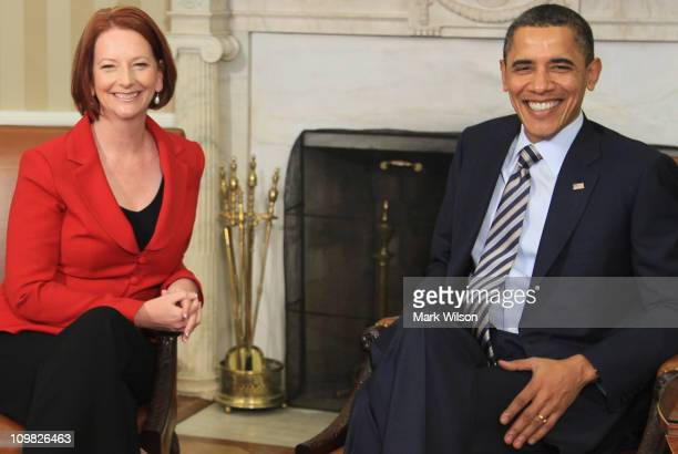 Australian Prime Minister Julia Gillard meets with US President Barack Obama in the Oval Office at the White House on March 7 2011 in Washington DC...