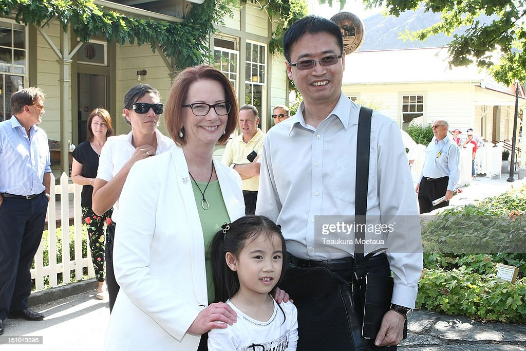 Australian Prime Minister <a gi-track='captionPersonalityLinkClicked' href=/galleries/search?phrase=Julia+Gillard&family=editorial&specificpeople=787281 ng-click='$event.stopPropagation()'>Julia Gillard</a> poses for a photo on February 9, 2013 in Arrowtown, New Zealand. The annual talks are held over two days, with the economy and Asia-pacific defence matters as key items on the agenda.