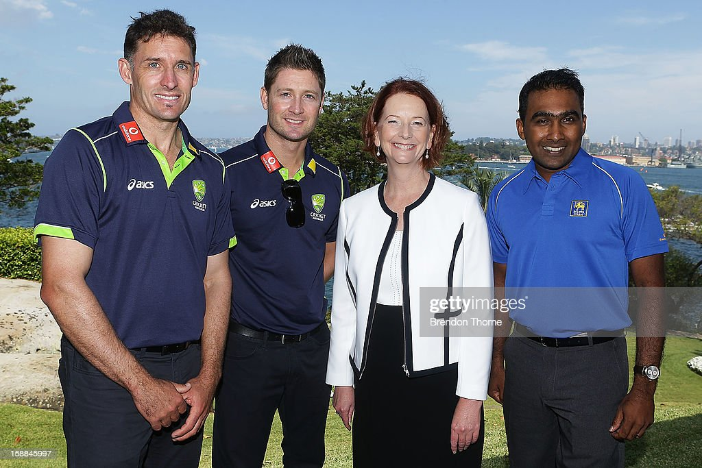 Australian Prime Minister, Julia Gillard poses with Michael Hussey and Michael Clarke of Australia and Mahela Jayawardene of Sri Lanka during a function at Kirribilli House on January 1, 2013 in Sydney, Australia.