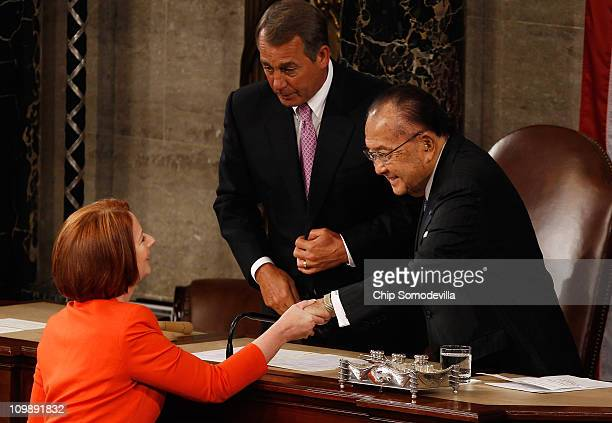 Australian Prime Minister Julia Gillard shakes hands with Speaker of the House John Boehner and Senate President Pro Tempore Daniel Inouye after she...